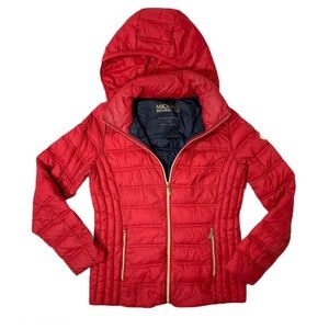Micheal Michael Kors Packable Down Red Coat Jacket